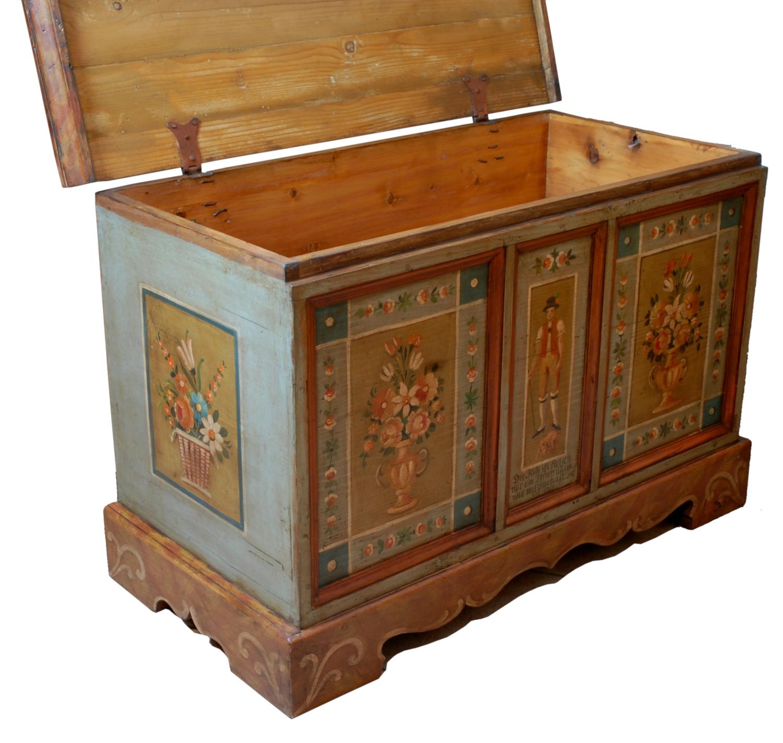 Armadi Tirolesi Dipinti cassapanca dipinta - | antichità sacco giovannino - milano